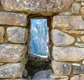 Machu picchu stone window inka stonework peru Royalty Free Stock Photos