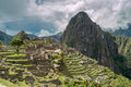 Machu picchu view at ruins Stock Images