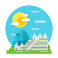 Machu Pichu flat design landmark Royalty Free Stock Photo