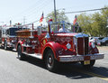 1950 Mack fire truck from Huntington Manor Fire Department leading firetrucks parade in Huntington, New York Royalty Free Stock Photo