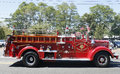 1950 Mack fire truck from Huntington Manor Fire Department at parade in Huntington, New York Royalty Free Stock Photo