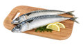 Mackerel fish on wooden plate isolated Royalty Free Stock Photo