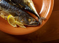 Mackerel on a grill. Royalty Free Stock Photography