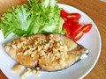 Mackerel steak with crispy fried garlic Stock Photos