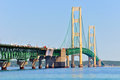 Mackinac bridge closeup the connecting michigan s upper and lower peninsulas seen close up with road construction slowing traffic Stock Image