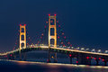 Mackinac bridge lights colorful decorate the mackinaw a long suspension and engineering marvel crossing the straits of and Royalty Free Stock Photo