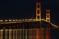 Mackinac Bridge at Night Royalty Free Stock Photos