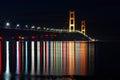 Mackinac Bridge at Night - Crayola Reflections - M Royalty Free Stock Photo