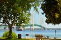 Mackinac bridge thru trees the connecting michigan s upper and lower peninsulas seen through Stock Images
