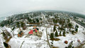 Mackinaw city Light House Complex with snow Royalty Free Stock Photo