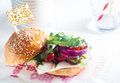 Macro appetizing veggy burger on table with grilled halloumi cheese good for vegetarians Stock Photo