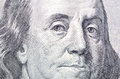 Macro close up of Ben Franklin's face on the US $100 dollar bill Royalty Free Stock Photo