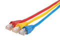 Macro close-up RJ45 network plugs red blue and yellow Royalty Free Stock Photo