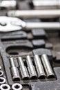 Macro closeup wrench sockets tools dirty Royalty Free Stock Photo