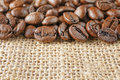 Macro coffee beans juta Royalty Free Stock Photo