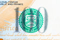 Macro the department of treasury one hundred dollar bill close up seal on us Stock Photography