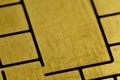 Macro detail of debet card chip golden Royalty Free Stock Photos