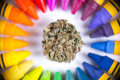 Macro detail of single cannabis nug surrounded by colorful crayon palette