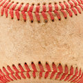 Macro Detail of Worn Baseball Royalty Free Stock Photo