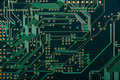 Macro of electronic circuit board pcb in green Royalty Free Stock Photo