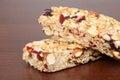 Macro fruit nut granola bar shallow DOF Royalty Free Stock Photo