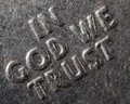 Macro in god we trust type from us currency quarter metal words Royalty Free Stock Photography