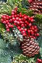 Macro of a holiday wreath Royalty Free Stock Photography