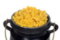 Macro macaroni and cheese in pot Royalty Free Stock Photo