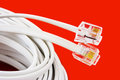 Macro of phone cable telephone on red background Stock Images