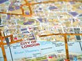 Macro photo of london showing london city and river thames Stock Image