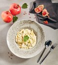 Macro Photo of Penne Rigate 4 Cheeses Italian Pasta