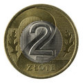 Macro of Polish 2 zloty coin  Stock Photo