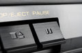 Macro of a rectangular pause button of an old hifi stereo audio system Royalty Free Stock Photos