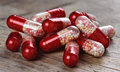Macro of red medical pills Royalty Free Stock Photo