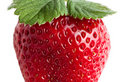 Macro of ripe strawberry with leaves Royalty Free Stock Image