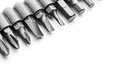 Macro of screwdriver bits on white Royalty Free Stock Photography