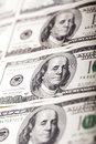 Macro shot benjamin franklin s portrait us money note two more notes above below shallow depth field Stock Image