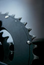 Macro shot on larger chainring of mountain bike Royalty Free Stock Photo