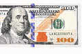 Macro shot of a new 100 dollar bill Royalty Free Stock Photo