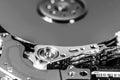 Macro shot of open hard disc drive Royalty Free Stock Photo