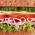 Macro shot of a sandwich with ham cheese tomatoes lettuce and cucumber Royalty Free Stock Photos