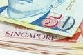 Macro Singapore dollars banknote Royalty Free Stock Photo