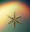 Macro snowflake ice crystals present Royalty Free Stock Photo