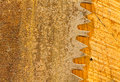 Macro of teeth of rusty large circular saw blade Stock Photography
