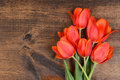 Macro tulips on wood table Royalty Free Stock Photos