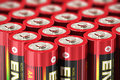 Macro view of aa batteries group red size volts cell with selective focus effect Royalty Free Stock Image