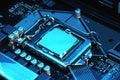 stock image of  Macro view of CPU, socket, memory on motherboard