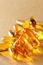 Macro of yellow gel pills Royalty Free Stock Photo