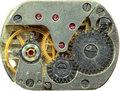Macrophoto of old clockwork background Stock Photos