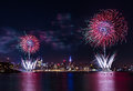 Macy s th of july fireworks weehawken new jersey independence day above the manhattan skyline on in weehawken new jersey Stock Photography
